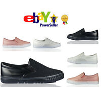 New Womens Ladies Flat Slip On Diamante Plimsoll Pump Shoes Skater Trainers Size