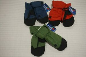 MUDDY PUDDLES GIRLS BOYS FLEECE LINED MITTENS GLOVES RED BLUE GREEN