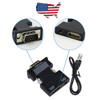 HDMI Female to VGA Male Converter with Audio Adapter Support 1080P Signal Output