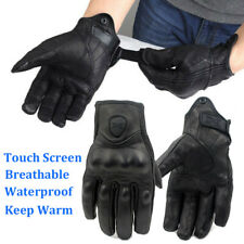 Mens Premium Leather Motorcycle Riding Gloves Touch Screen Waterproof XL Black