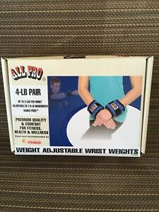 All Pro 4 LB Pair Weight Adjustable Wrist Weights Set - Exercise/Fitness EUC