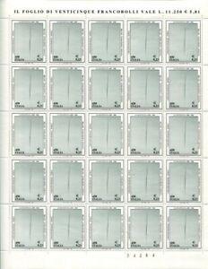 1999 MILANO FONDAZIONE LUCIO FONTANA - LIRE 450 € 0,23 Foglio intero MNH **