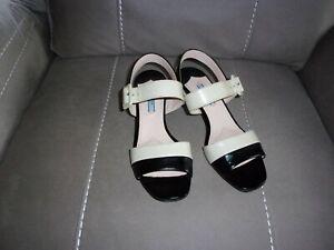 PRADA, Preowned Ivory/Black Prada Sandals for Ladies. US size 8 M.