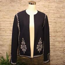 Oscar by Oscar de La Renta Fitted Blazer Jacket 8 Business Embroidery Navy Blue