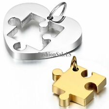 Stainless Steel Heart Shape Puzzle Pendant Couples Necklace Chain Valentine Gift