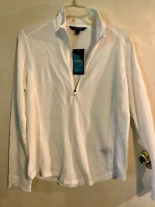 Women's XL Lauren RL Thermal 1/4 zip White Shirt NWT