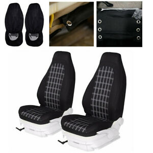 Polyester Fabric Front Row Set Car Seat Covers Fit for High Back Bucket Seats