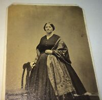 Antique American Civil War Era Fashion Wrap Lady! New England CDV Photo! US! Old