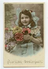 c 1910 Child Children Cute PRETTY LITTLE GIRL French photo postcard