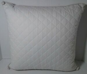 LENOX Rutledge Square Toss Pillow Feather Fill Quilted Soft Blue Corner Accents