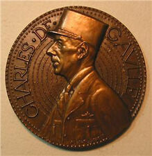 CHARLES DE GAULLE / French Bronze Medal by JAEGER / 70 mm / N134