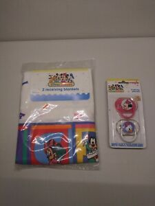 Vintage Dundee Disney Babies 2 Receiving Blankets+ 2 EVENFLO PACIFIERS W COVERS