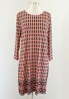 Michael Kors Womens Orange Tan Black Mod Geometric Printed Shift Dress Size L