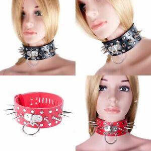 Studded Spiked O Ringed Collar Choker PVC Leather Fetish erotic Kink slave BDSM