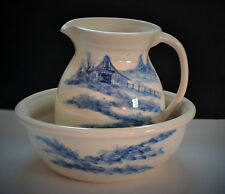 PAUL STORIE POTTERY BOWL AND PITCHER SET-VINTAGE SIGNED