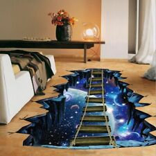 Large 3D Stickers Cosmic Space Galaxy Bridge Floor Decals Home Wall Decoration