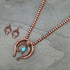 Copper Naja Bead Necklace Set Squash Blossom Hanging Faux Turquoise Long Pearl