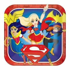 DC Super Hero Girls 23cm Square Paper Plates 8 Pack Birthday Party Tableware