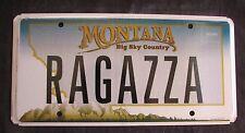 """MONTANA  VANITY License Plate """" RAGAZZA """" RAGO RA GAZZA ITALIAN ITALY"""