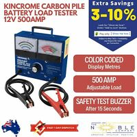Kincrome Carbon Pile Battery Load Tester 12V 500Amp Colour Coded Display Meters