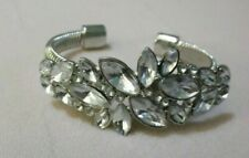 Acrylic Stones Prom Bride Wedding Us Vintage Silvertone Cuff Bracelet With Clear