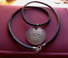 """Auth Chinese Lucky Dragon CASH$ Coin Pendant Handmade Brown Leather 20"""" Necklace"""