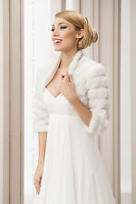 WEDDING WHITE FAUX FUR SHRUG BRIDAL BOLERO JACKET COAT PEARLS  S M L XL