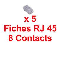 5 Fiches RJ45 à Sertir pour Câble Réseau 8 Contacts 8P8C