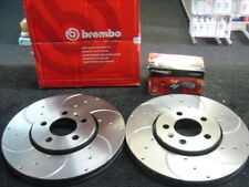 SKODA FABIA  OCTAVIA ROOMSTER REAR BREMBO DRILLED GROOVED BRAKE DISC MINTEX PADS
