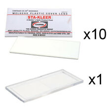 """10 Clear Hood Lens Covers & 1 Magnifier 1.50 Diopter Cheater Lens 2"""" x 4.25"""""""
