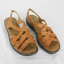 Naturalizer Slingback Brown Sandals Women Size 8W Leather uppers man made sole