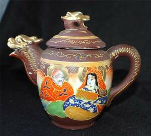 """Vintage SATSUMA Moriage Gold Gilded Hand Painted KANNON w IMMORTALS 6""""h Teapot"""