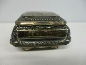 ANTIQUE 800 SILVER with HALLMARK HINGED FOOTED BOX WITH LEAF SWAG PATTERN