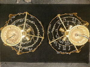 2x SOLID BRASS VINTAGE LEAD CRYSTAL GLASS CHANDELIER 4 TIER WEDDING CAKE - RARE