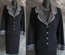 STUNNING St John evening jacket pearl black knit suit blazer size 10