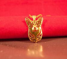 Halskette mit Hunde Kopf Anhänger. Welsh Corgi. Gold. Hund Schmuck