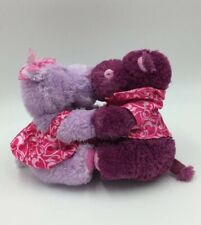 Kissing Hippos  Plush Purple Lavender Valentines Day Love Stuffed Animal AA