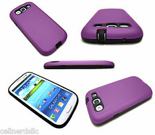 Samsung Galaxy S3 DUAL SLIM Hybrid Protective Impact Resistant case cover Purple