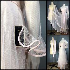 Vtg 70s Dress Poet Sleeve Pink Sheer Dot Net Flounced Overlay Jack Bryan Wedding