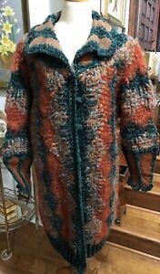 Vintage Norma Canada Coat Wool Blend/ Leather Medium Green/Brown
