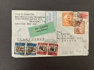 Postal History Colombia 1941 Censored Cover to Vienna