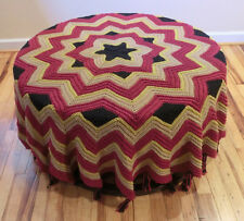 Large Round Crocheted Burgundy Multicolor Tablecloth Throw Afghan Blanket