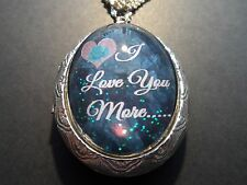 Love You More Locket Sterling Silver Plated Teal I