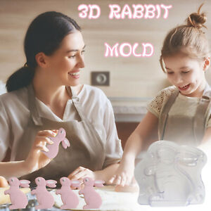 Easter 3D Bunny Shape Plastic Cake Chocolate Mold DIY Handmade Baking Mold CH