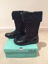Girls Black 'Clarks' Fur and Sparkle Leather Boots- Size 28