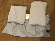 Ralph Lauren Home 3 Pc Chambray Twin Flat & Fitted Sheet & Dust Ruffle