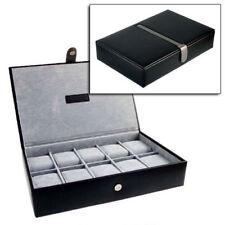 GENTS GENUINE BLACK LEATHER 10 WATCH STORAGE CASE JEWELLERY BOX BY MELE & CO.