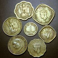 OLD INDIA - ANCIENT INDIA- BRASS COINS COLLECTIBLE SET-7 COINS