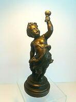 """Art Nouveau Bronze Sculpture Young Boy Holding Wine Goblet """"Jugendstil"""""""