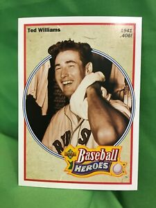 TED WILLIAMS Upper Deck 1992 Heroes Card, #29, 1941 Hitting .406!